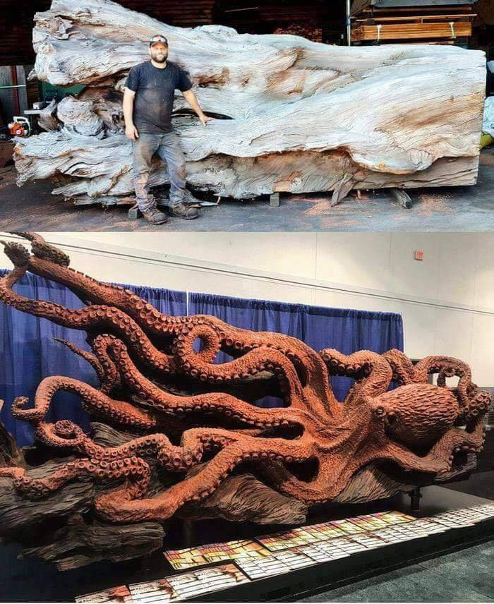 Artist Jeffrey Samudosky recently transformed this huge fallen redwood into an amazing giant oct ...