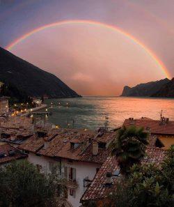 Rainbow over Lake Garda, Italy.