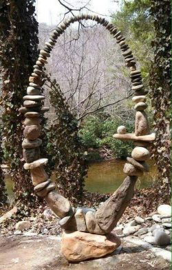 "Balancing rocks by stone sculptor Carl Peverall. This piece is known as ""The Gift"". :)"