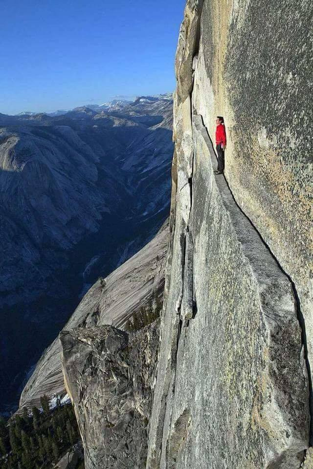 "The ""Thank God Ledge"" in Yosemite National Park!! :o"