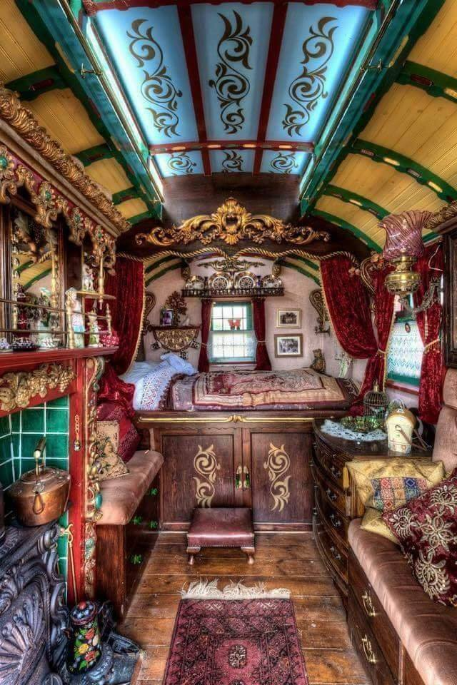 The interior view of a Gypsy owned, horse-drawn caravan built sometime during the mid 1800s! :o