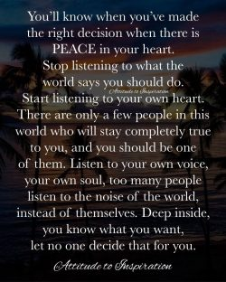 <3 You'll know when you've made the right decision …