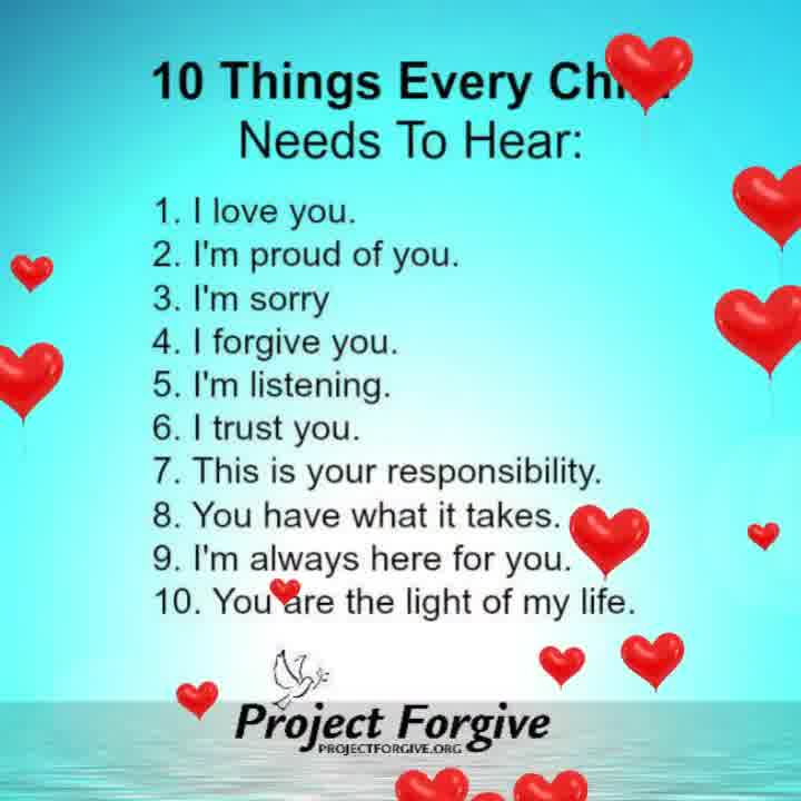 10 Things every child needs to hear..