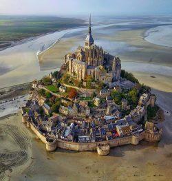 Bird's eye view  Mont Saint-Michel, France.