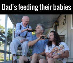 Dad's feeding their babies. <3