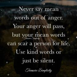 Never say mean words out of anger …