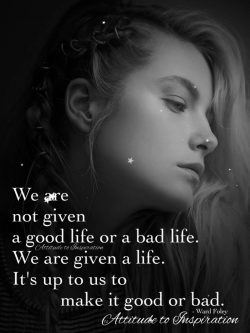 We are not given a good life or a bad life …